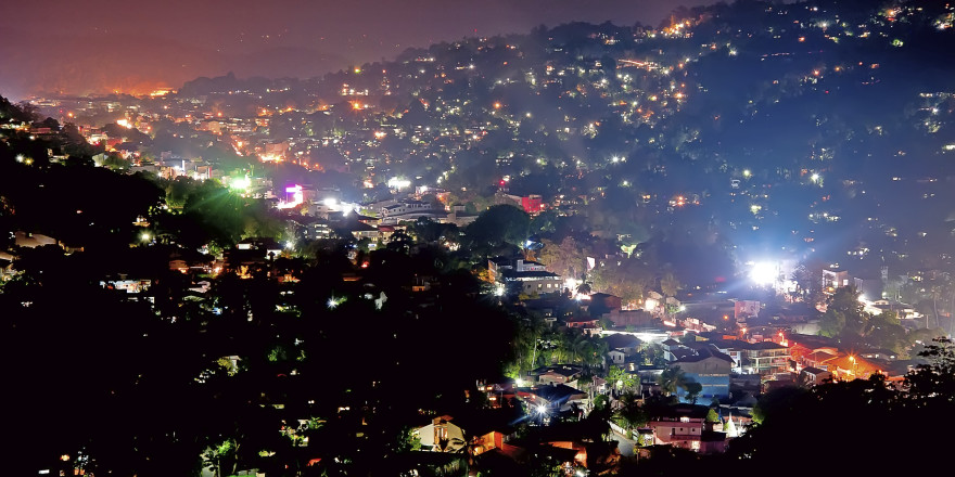 The night scene of Kandy in Sri Lanka